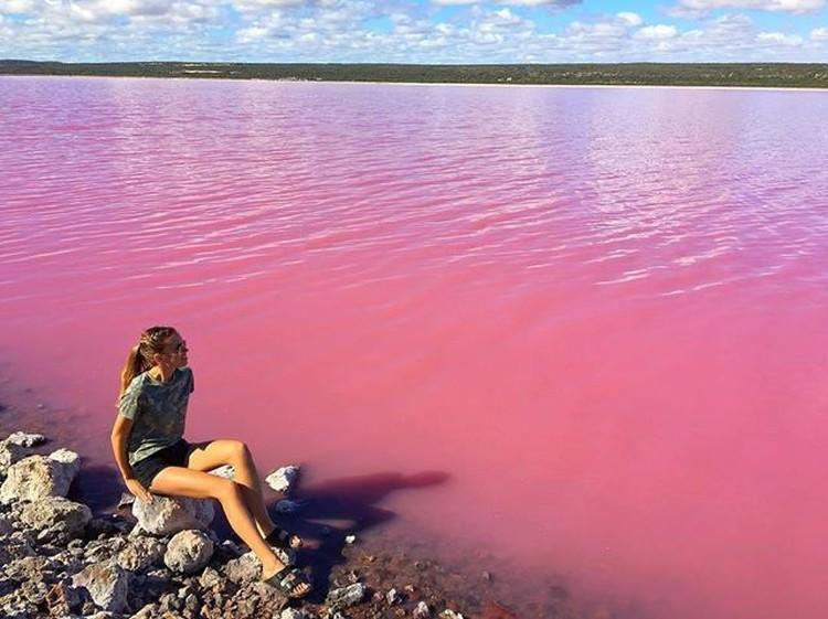 Розовое озеро Хиллиер в Австралии