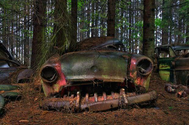 Необыкновенное кладбище старых заброшенных автомобилей в Бельгии