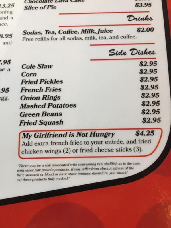 Ресторан в Арканзасе предлагает блюдо  «Моя девушка не голодна»