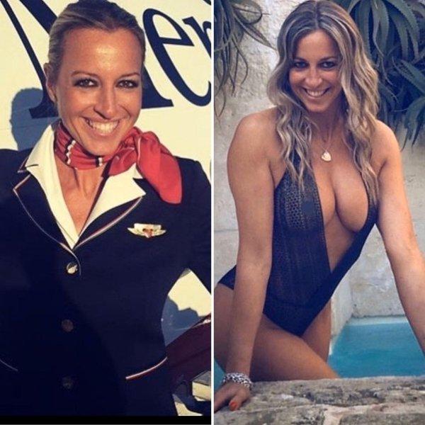 Горячие красивые стюардессы в форме и без. Горячие снимки (44 фото)