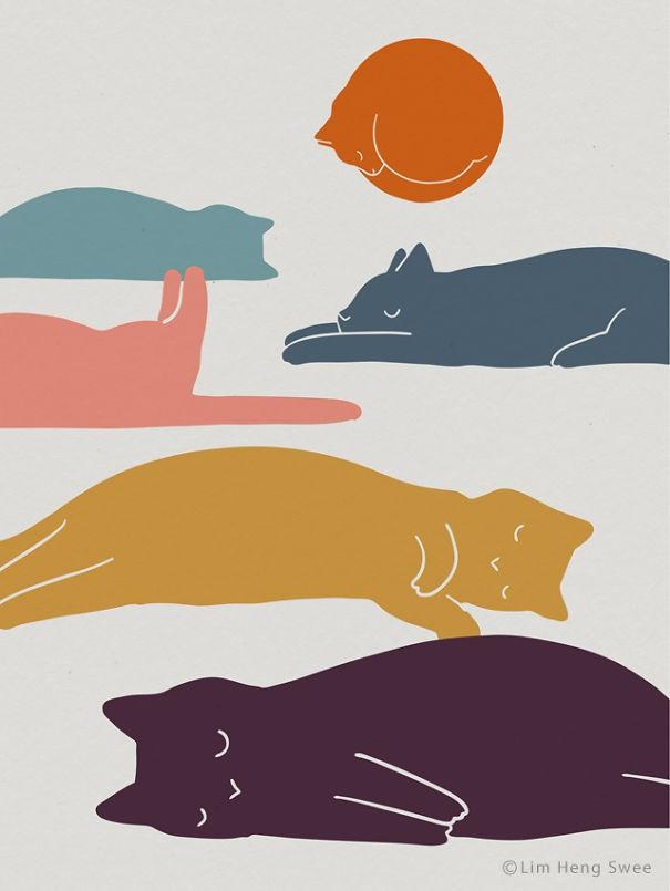 26 иллюстраций Лим Хенг Сви для любителей кошек.